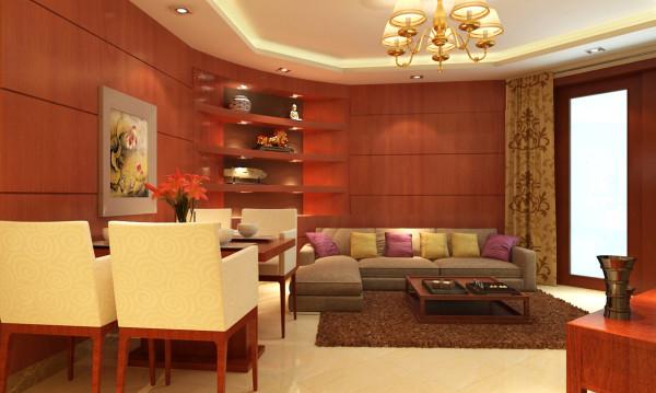公园城客厅设计装修-沙发背景墙,客厅吊顶。以及餐厅一角