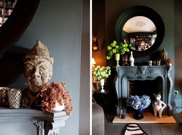 除此之外,家里各式奇趣的摆设也十足有吸引力,不少都来自Abigail旅行所得,或是工作中的幸运发现,泥塑雕像或是手工花瓶,不求整体统一,却令每一处都充满惊喜。