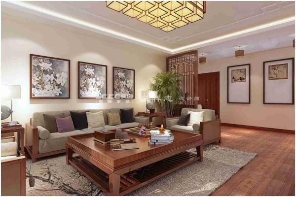大户型装修【祥鹰花园】三居室中式精装修 客厅 沙发背景墙