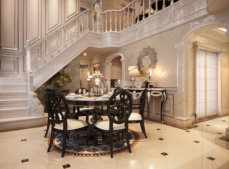 欧式 别墅 刘燕飞 鲁班装饰 鸿基紫韵 楼梯图片来自陕西鲁班装饰公司在鸿基紫韵-300㎡-欧式风格的分享