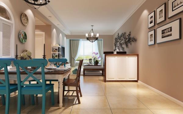 银基王朝 96平米两居室 简约地中海风格 家装设计案例-客厅设计效果图