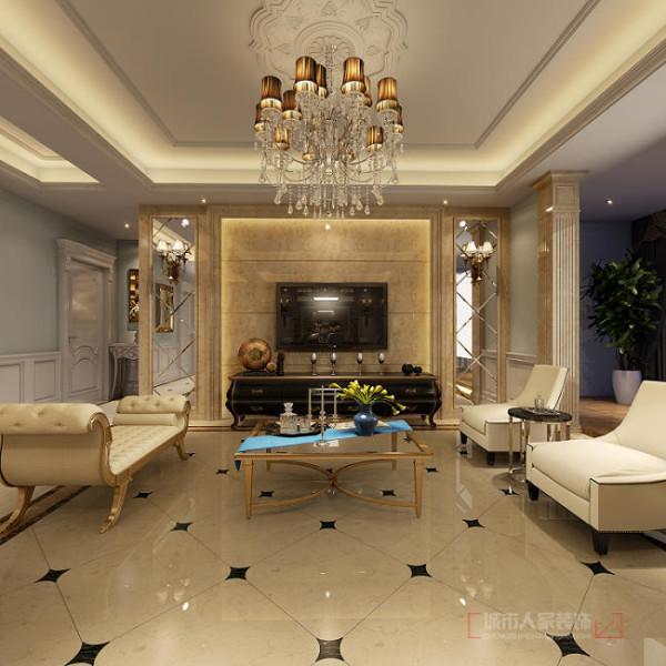 华侨城天鹅堡150平米欧式装修 客厅电视墙