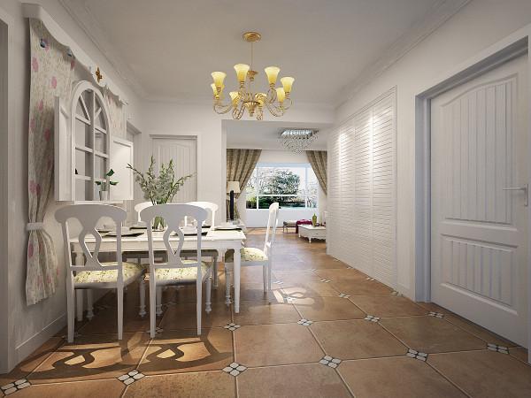 餐厅的空间分明,功能明确,主色调以白色为主,搭配欧式吊灯,白色的欧式餐桌等,餐厅空间的点睛之笔就是在墙上做了一个欧式风格的花窗搭配碎花窗帘与整体的装饰风格相呼应,所以此处为点睛之笔。