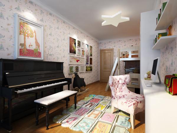 粉色的壁纸让居室颇显温馨,顶部星星造型的灯饰释放出孩童天性中的自由快乐。墙面相框记录下孩子成长、喜悦、家人陪伴中的瞬间,色彩丰富的地毯、深色的钢琴又给温馨浪漫的居室又增添几分艺术气息。