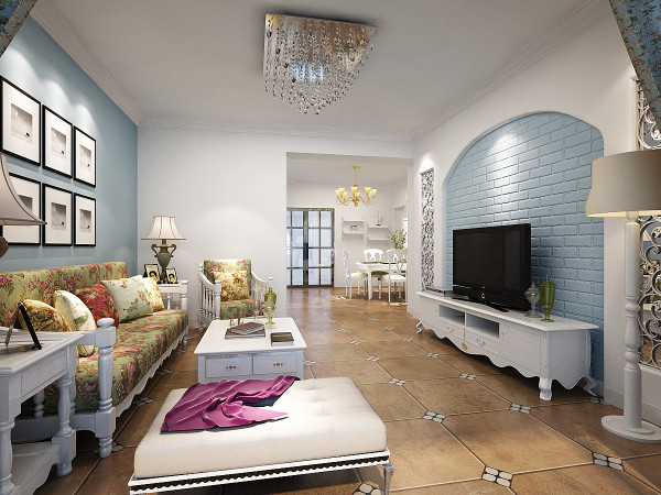法式田园风格的特点就是使人觉得纯朴清新之余又倍感亲切,淡蓝色的背景墙,白色的欧式家具,仿古欧式地砖。