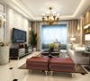 整个空间以象牙白为主色调,电视墙采用欧式大花壁纸饰面,并利用简洁的配色营造出独特优雅的装饰效果。