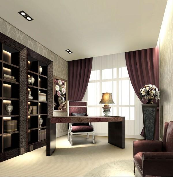 正商玉兰谷 160平米 四居室 简约风格 装修设计案例效果图--书房