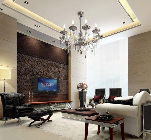 正商玉兰谷 160平米 四居室 简约风格 装修设计案例效果图--客厅