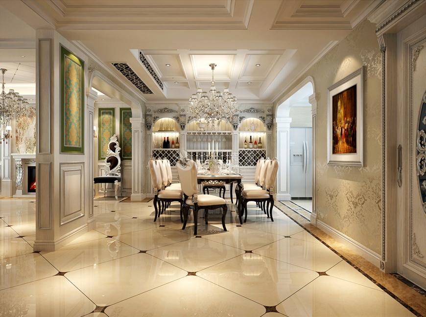 欧式 别墅 鲁班装饰 华侨城 刘燕飞 餐厅图片来自陕西鲁班装饰公司在侨城108坊-别墅500㎡-欧式风格的分享