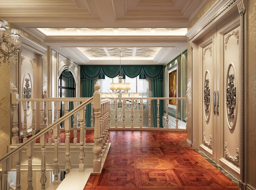 欧式 别墅 鲁班装饰 华侨城 刘燕飞 楼梯图片来自陕西鲁班装饰公司在侨城108坊-别墅500㎡-欧式风格的分享
