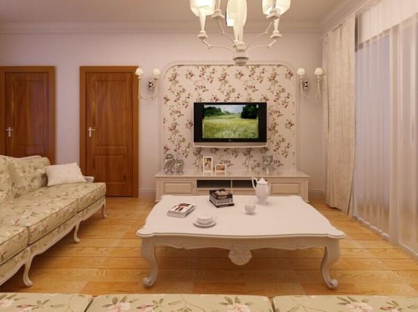 顶面与地面的空间划分将几个空间划分的淋漓尽致,抹茶绿的沙发背景色的设计结合简单的边框造型 以及与布艺沙发的柔美结合 清新雅致。