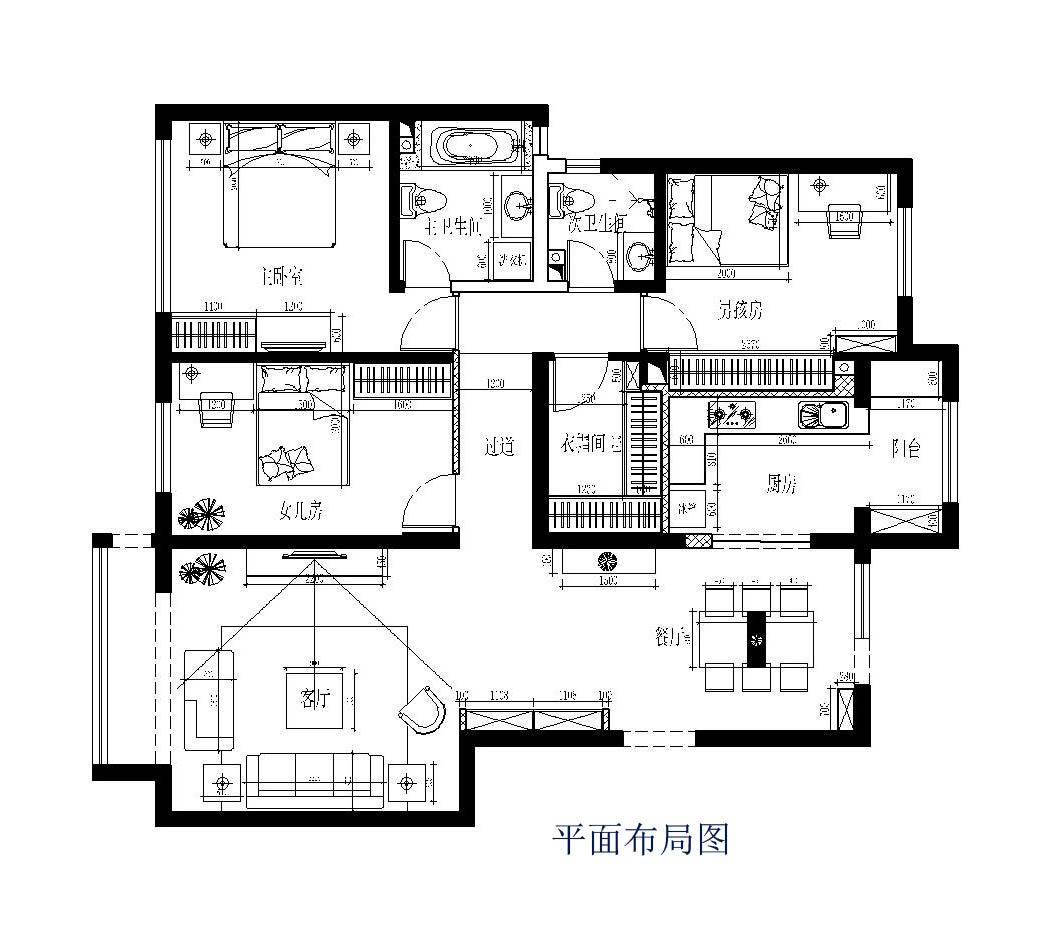 户型图图片来自广州实创装饰朱建芳在珠江御景湾144平现代简约风格的分享