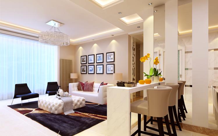 旭日龙源 三居室 126平米 现代简约 装修设计 案例效果图 客厅图片来自郑州实创-整套家装在旭日龙源现代简约风格装修案例的分享