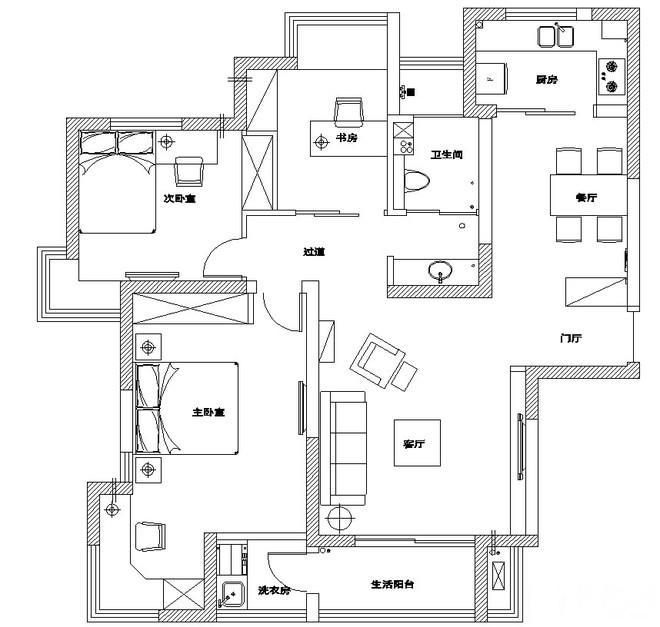 三居 80后 小资 户型图图片来自过家家装饰在三室两厅简约风格 干净小清新的分享