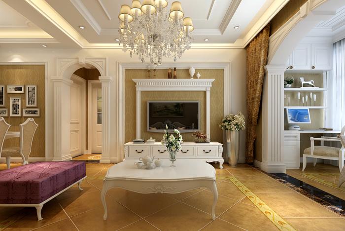 鑫苑现代城 三居室 欧式风格 装修设计 效果图 客厅图片来自郑州实创-整套家装在鑫苑现代城三居室欧式风格案例的分享