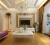 鑫苑现代城 134平米 三居室 简欧风格 装修设计案例效果图--客厅