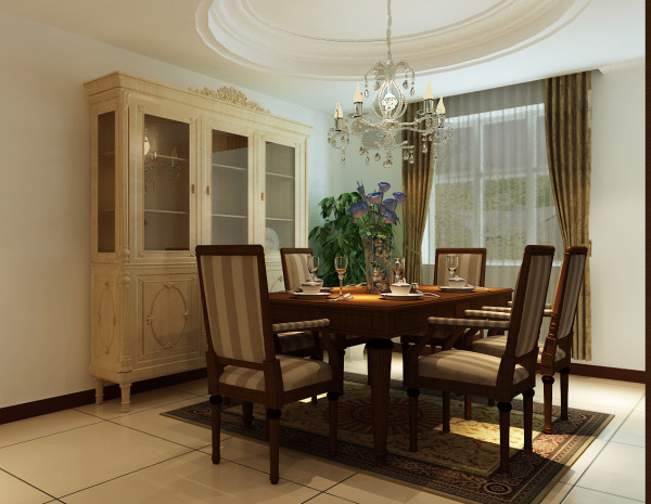 亚太花园 四居室 145平米 简约风格 装修设计案例效果图--餐厅