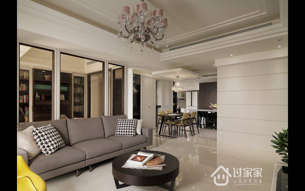 美式 旧房改造 小资 收纳 客厅图片来自过家家装饰在116平美式四居优雅生活风格案例的分享