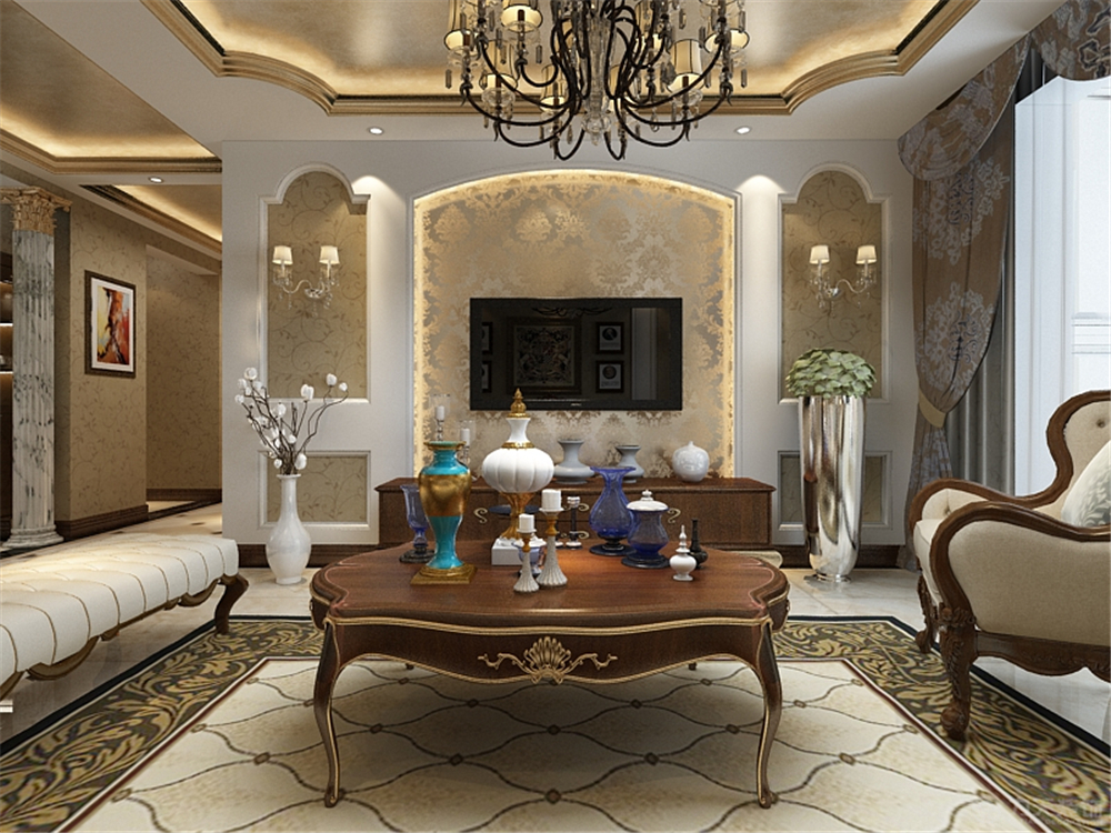 欧式 客厅图片来自阳光力天装饰梦想家更爱家在欧式 珑著  130㎡的分享