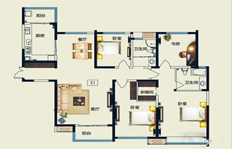 五月花城 四室两厅 175平方 装修案例 样板间 户型图图片来自艺尚设计在永威五月花城175平方四室装修的分享