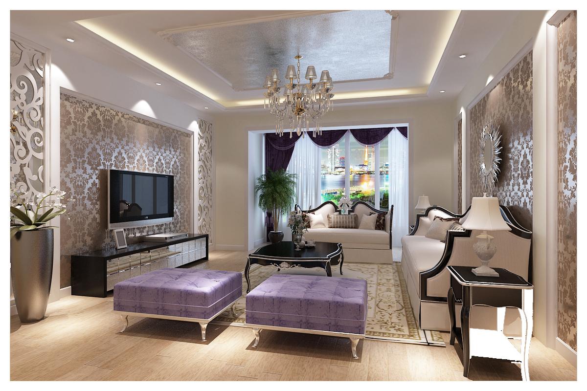 客厅图片来自广州实创装饰朱建芳在保利东江首府130平简欧案例的分享