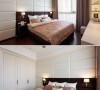 皮革绷布的床头造型墙刻意做成瘦长横向,引导视觉扩大,并与隐藏厕所门连成一片,提高视觉完整度。白色与咖啡色皮革绷布同款不同色,界定床位并增加跳色趣味。