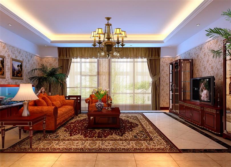 二居 白领 收纳 80后 小资 客厅图片来自实创装饰完美家装在清华园96平二居美式风格赏析的分享