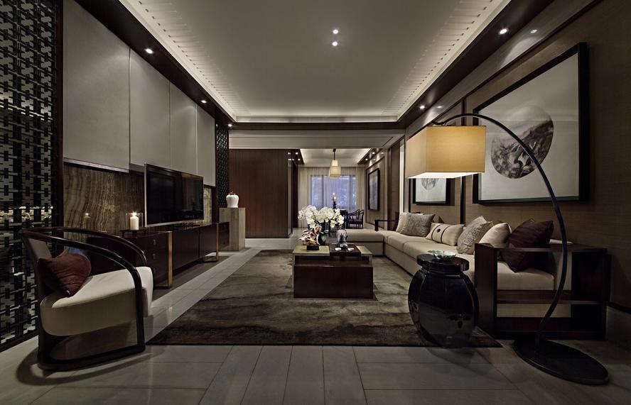 三居 中式 收纳 客厅图片来自武汉实创装饰在顶琇国际公馆109平中式三居的分享