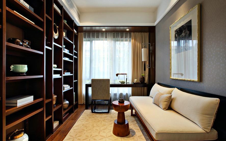 三居 中式 收纳 书房图片来自武汉实创装饰在顶琇国际公馆109平中式三居的分享