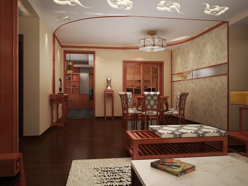 卢浮宫馆 180平米 新中式风格 四居室 装修设计 餐厅图片来自郑州实创-整套家装在卢浮公馆 极致新中式风格案例的分享