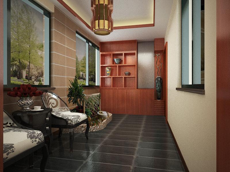 卢浮宫馆 180平米 新中式风格 四居室 装修设计 玄关图片来自郑州实创-整套家装在卢浮公馆 极致新中式风格案例的分享
