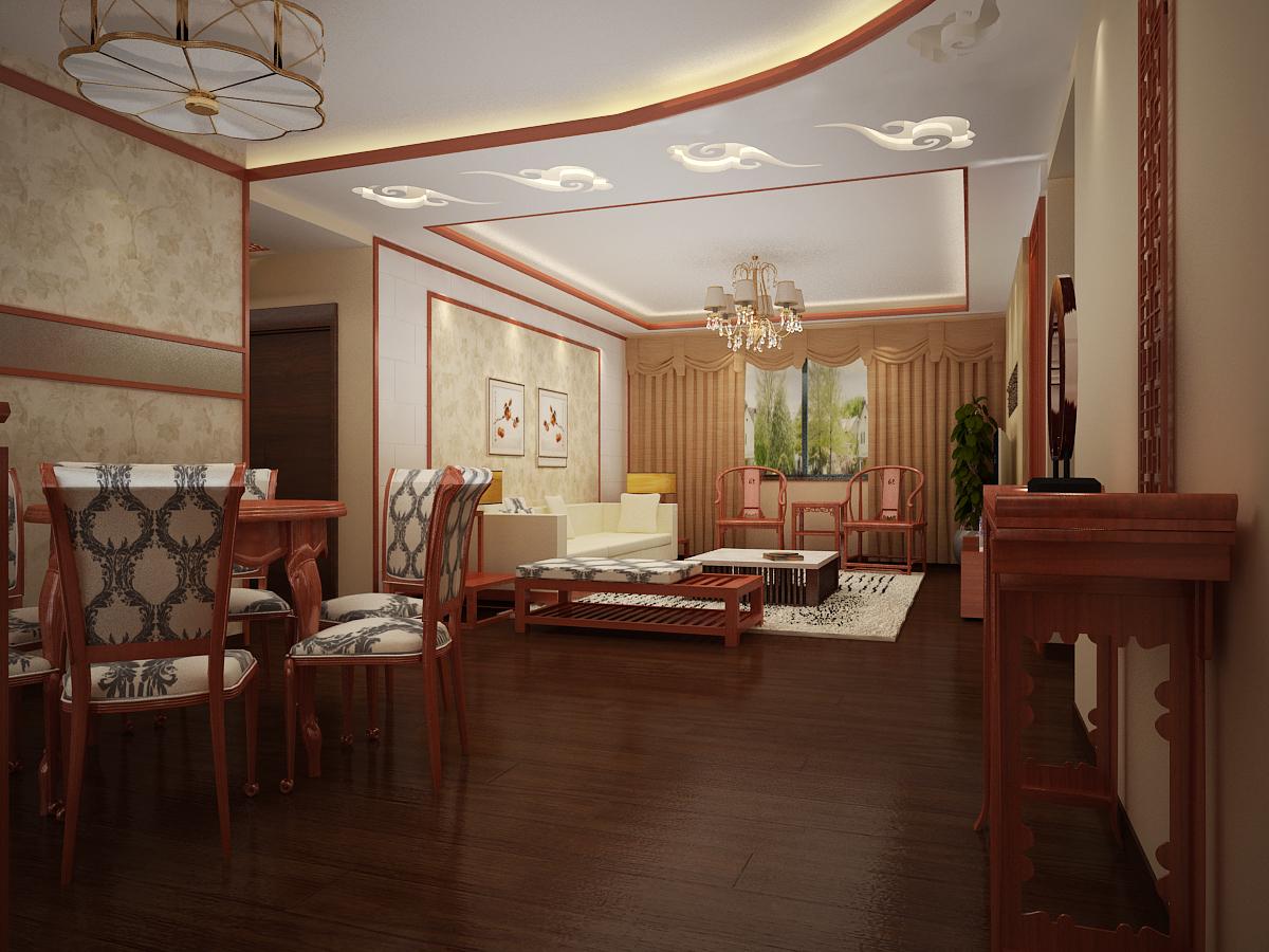 卢浮宫馆 180平米 新中式风格 四居室 装修设计 客厅图片来自郑州实创-整套家装在卢浮公馆 极致新中式风格案例的分享