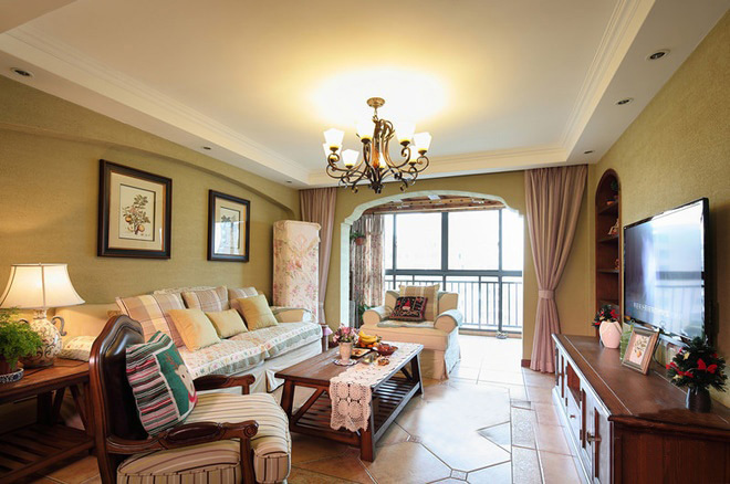 田园 二居 三居 混搭 旧房改造 80后 美式风格 上海装修 客厅图片来自上海实创-装修设计效果图在上海150平米乡村美式风格的分享