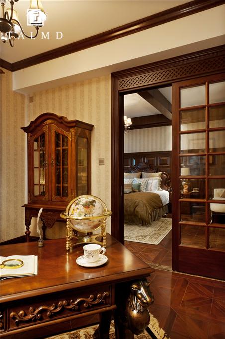 新中式 四居室 家具定制 整屋定制 旧房改造 书房图片来自TALMD图迈家居在【TALMD案例】新中式·奥体紫薇园的分享
