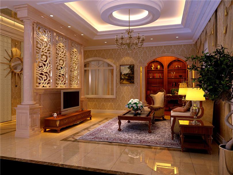 欧式 别墅 白领 收纳 80后 小资 客厅图片来自实创装饰完美家装在辉煌国际广场210平四居欧式古典的分享