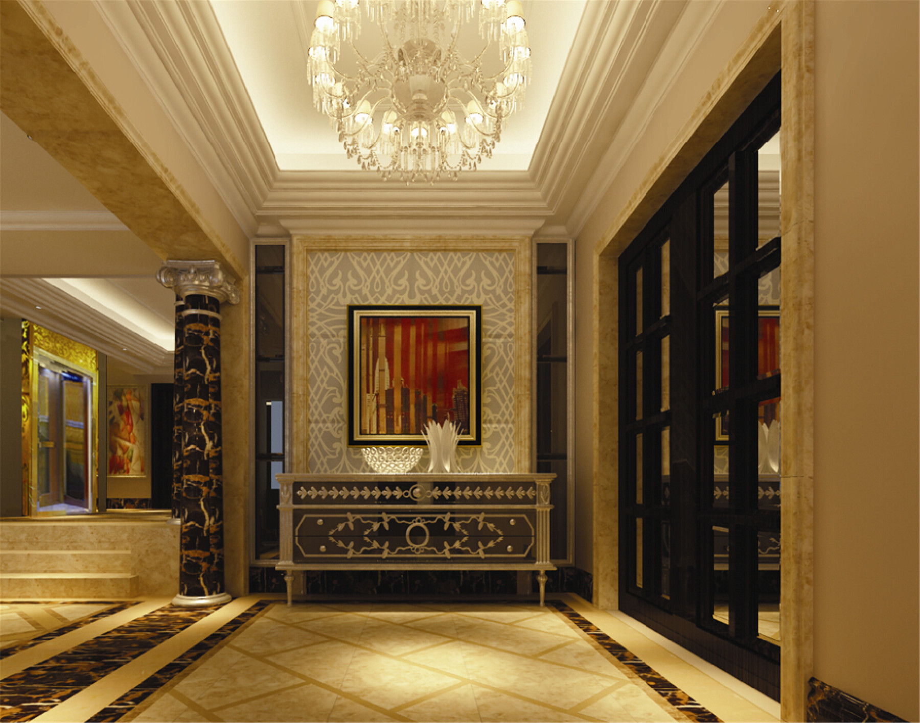 皇都花园 别墅装修 别墅设计 欧式古典 腾龙设计 玄关图片来自腾龙设计在皇都花园别墅装修欧式风格设计的分享
