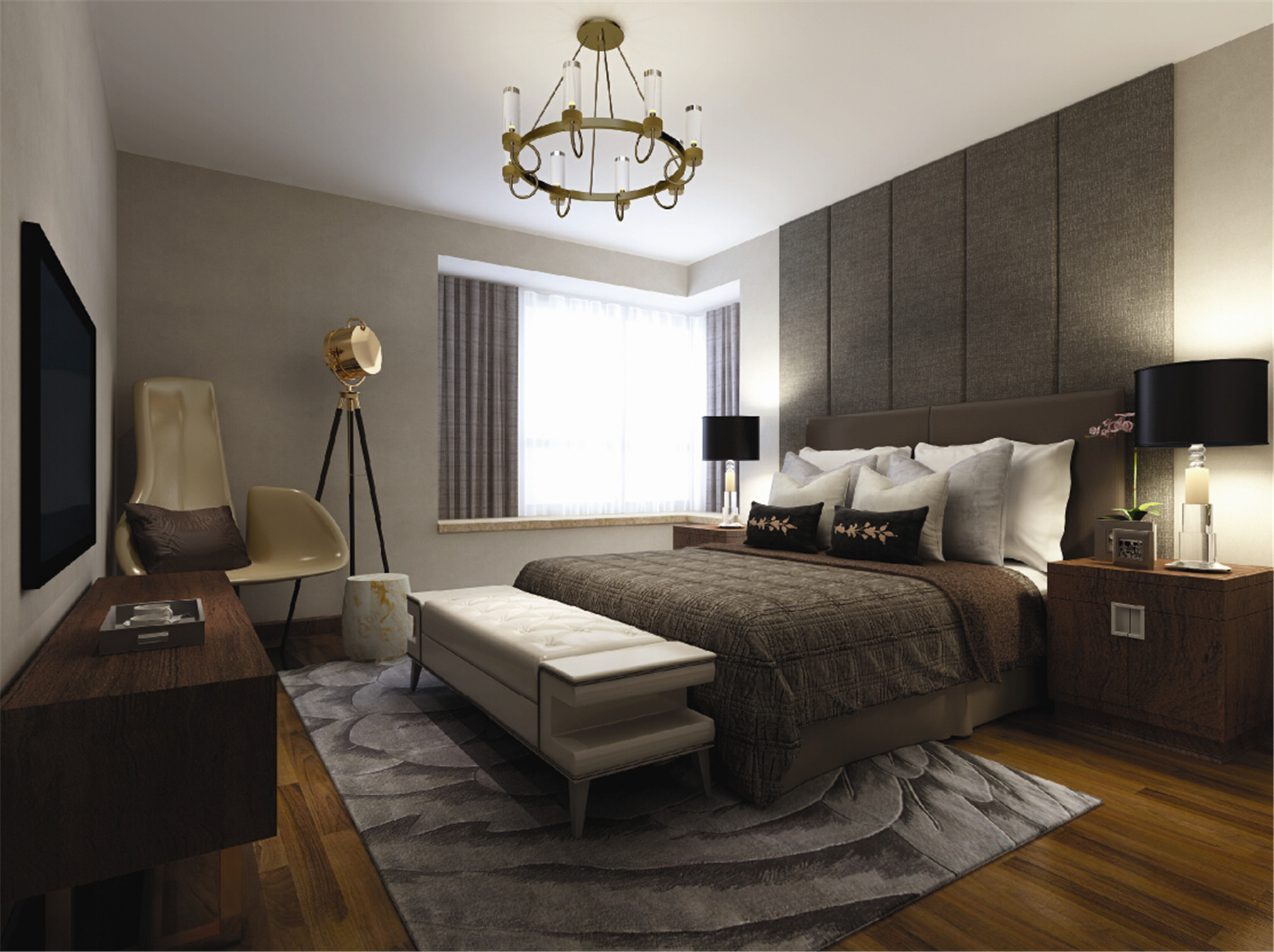 黄兴绿园 装修设计 现代风格 腾龙设计 季蓓菁作品 卧室图片来自腾龙设计在黄兴绿园别墅装修现代风格设计的分享