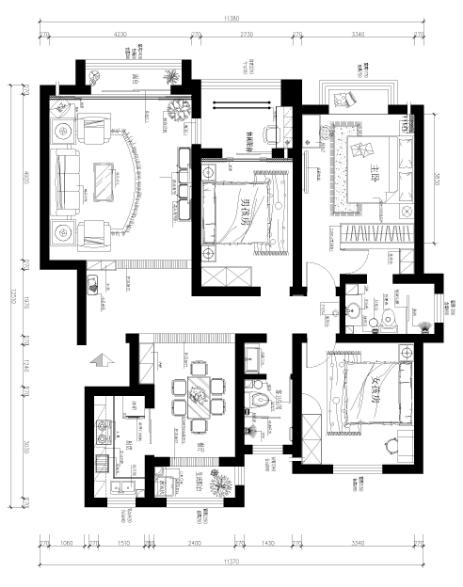 国瑞城140平欧式风情设计方案-户型图
