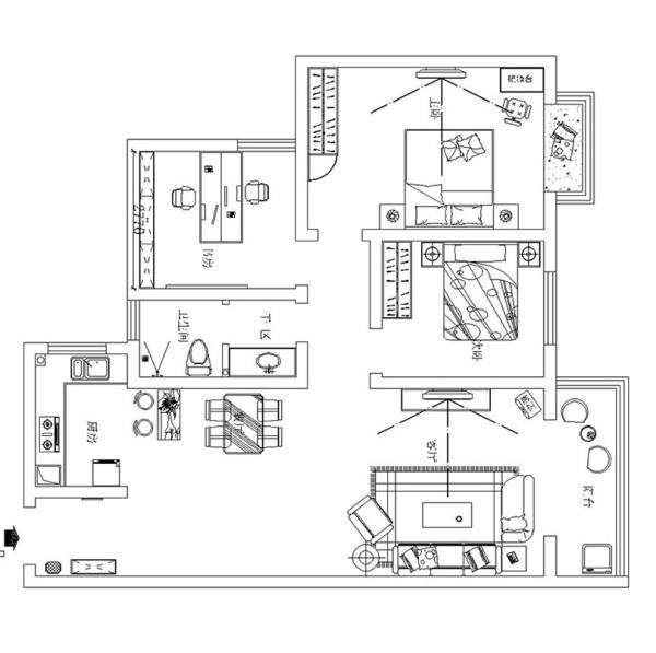 郑州亚太花园14号楼120平三室两厅装修新中式案例——户型平面方案