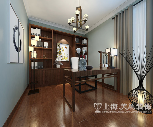 亚太花园3室2厅装修新中式120平样板间案例——书房全景,整个硬装与软装的搭配,在处理上的尺度把我的恰到好处,营造出蕴含文化空间的雅致空间
