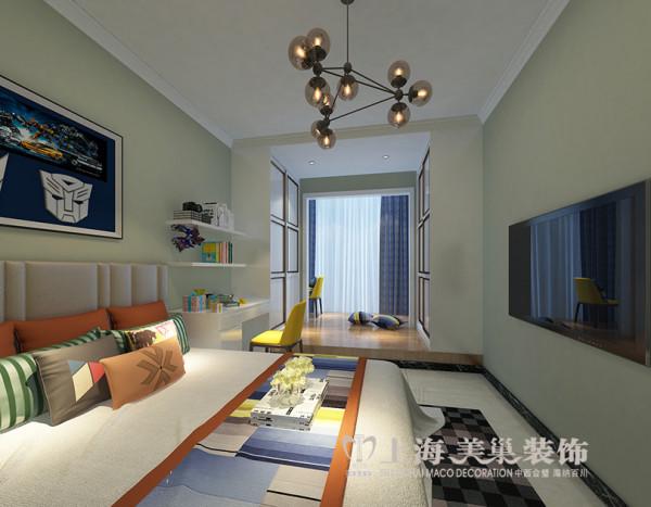 财信圣堤亚纳装修3室2厅样板间134平简约效果图——客卧布局,现代简约风格的装修风格迎合了年轻人的喜爱