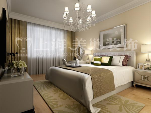 东润朗郡现代装修140平三居室案例效果图——卧室效果图,运用现代元素,墙面采用乳胶漆,使整个居室空间更加大方