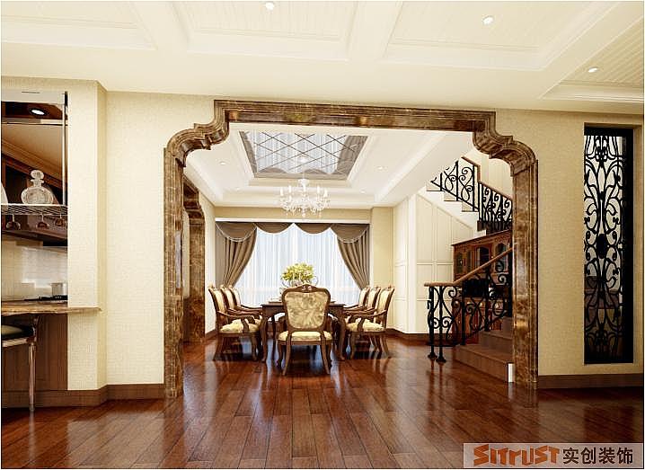 美景天城 美式 新古典 别墅 230平米 餐厅图片来自郑州实创-整套家装在美景天城美式新古典别墅的分享