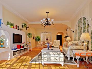 134平英式田园三居室温馨家居