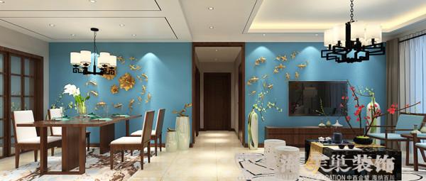 亚太花园新中式装修120平三室两厅案例效果图——客餐厅全景布局