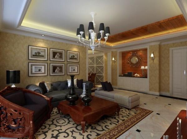 客厅采用米色组合沙发搭配咖色抱枕,突出温馨的气氛,流线型波纹茶几,绚丽的壁纸组合吊顶,一种宁静高雅的情怀油然而生。