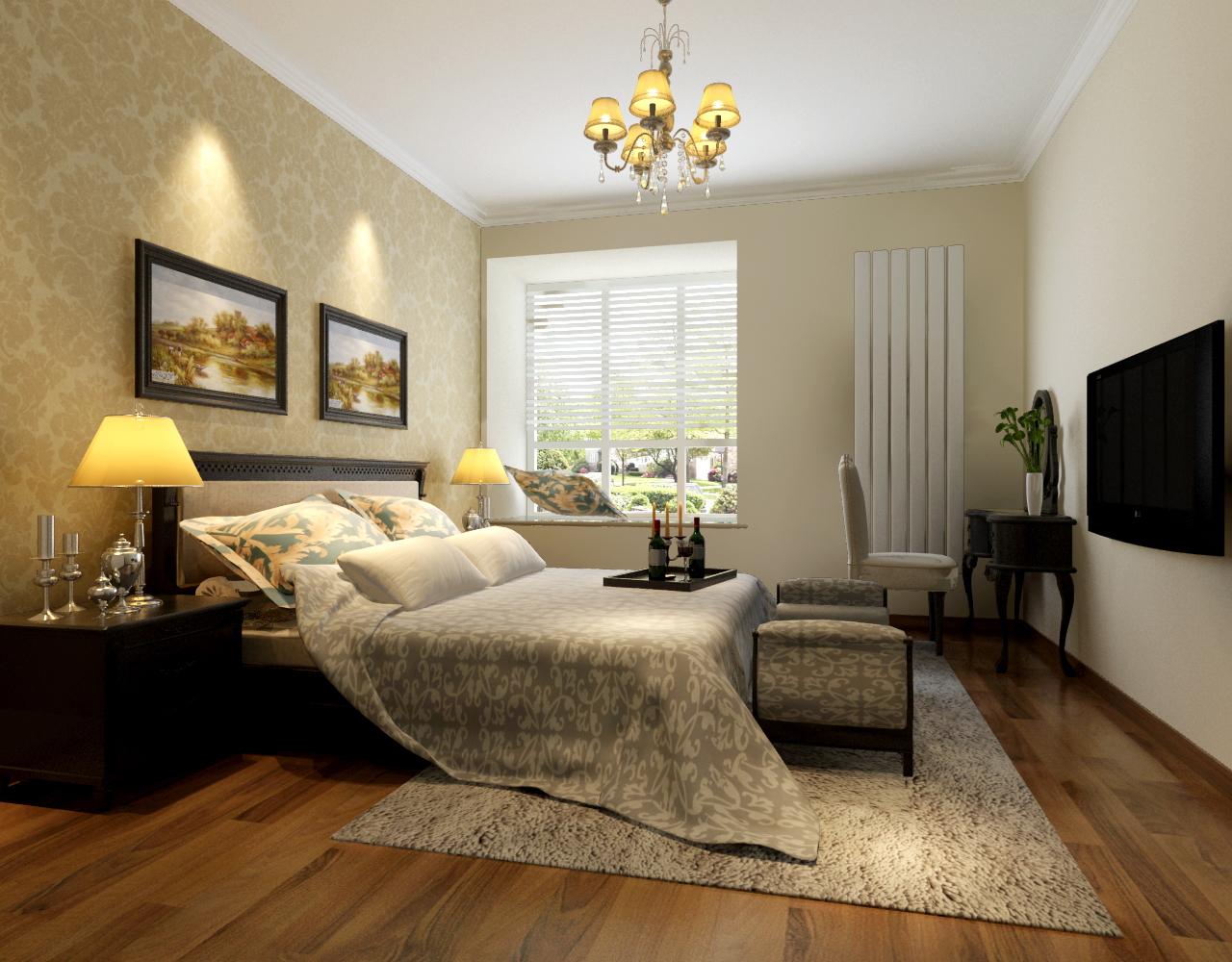 格林上东 118平米 三居室 欧式风格 装修设计 卧室图片来自郑州实创-整套家装在格林上东三居室简欧风格装修的分享