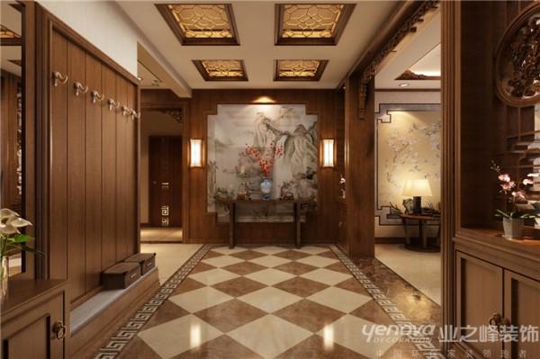入户门正对的门厅——林勇中式的画面门让你一进入就不的不被这种传统文化给渲染------两边的装饰品更是让你对这家主人的品味看法不同--