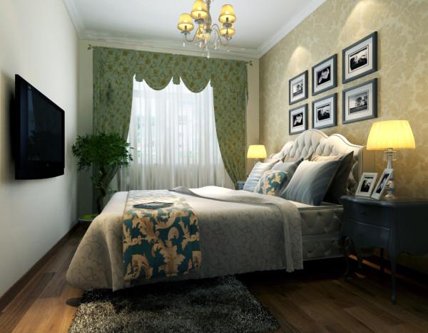 卧室同样延续了客厅以淡咖啡色为主调的设计风格,简约的背景墙,加上绿色清新的窗帘,明亮的空间,卧室变得充满阳光、安静、舒适。