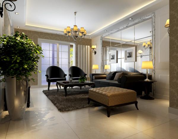 时尚的深色调沙发与电视背景墙的呼应,让整个客厅营造出时尚、高贵、轻松、愉悦的视觉感空间,营造出一个朴实之中的时尚简欧家居设计。